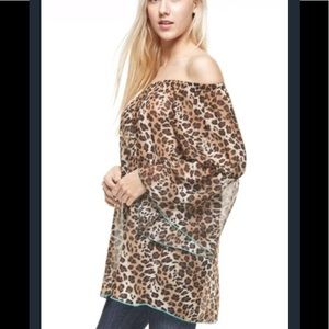 Tops - Brand new!!! Leopard print tunic with coral trim.